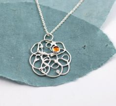 Organic Vine pendant with amber  sterling silver by BethCyr, $55.00