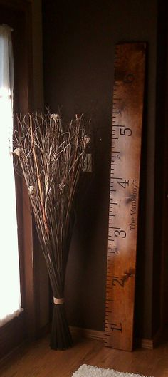Rustic Oversized Personalized Wood Ruler Growth Chart