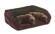 Orvis Fleecelock Deep Dish Dog Bed With Memory Foam / Large Dogs 60-120 Lbs., Mahogany,