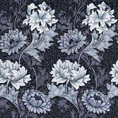 House of Hackney x William Morris, Chrysanthemum Wallpaper Chambray