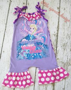 Handmade Ruffled Romper Elsa Frozen by LittleSproutDesign on Etsy