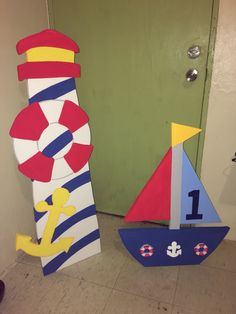 Boat and lighthouse for Mickey sailor capitan