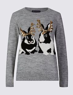 ede3dbca6d Embellished Rabbit Print Christmas Jumper