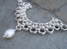Collar de plata Chainmaille por ErganeStudio en Etsy