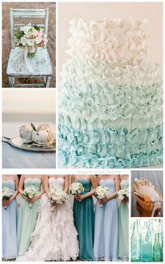 Ombre teal,turquoise wedding cake and bridesmaid dresses! Great colors for a beach wedding! My inspiration for a palette Seaside Wedding, Blue Wedding, Wedding Bells, Dream Wedding, Wedding Day, Spring Wedding, Wedding Stuff, Wedding Themes, Wedding Colors