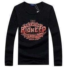 Trendy Fashion bear print T Shirts Casual O Neck Men Tops long Sleeve Tees t shirt