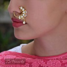 Shazeeb Nath Clip on nose ring! Indian Jewelry Earrings, Nose Jewelry, Ring Earrings, Pearl Jewelry, Jewelry Necklaces, Nath Nose Ring, Nose Rings, Hippie Accessories, Jewelry Accessories