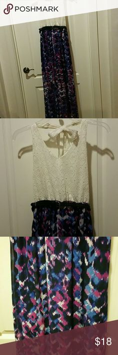 Womens small halter sundress Very cute summer halter dress long shear purple blue black and white with blue short skirt underneath, lined lace upper. Perfect summer dress Lily Rose Dresses