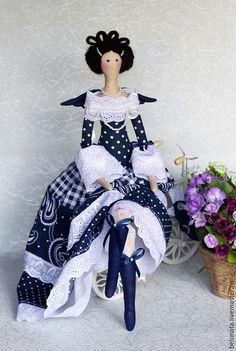 Купить Фея с маленькой Синей Птичкой - тёмно-синий, кукла ручной работы, кукла