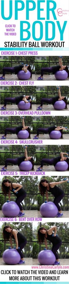 Do you have an exercise or stability ball? Then you will love this fat burning Exercise Ball Workout for beginners. This Exercise Ball Workout for Beginners is fun and targets the upper body so you can burn arm and back fat fast. Swiss Ball Exercises, Stability Ball Exercises, Core Stability, Body Exercises, Workout Exercises, Fitness Exercises, Body Workouts, Fitness Tips, Fitness Motivation