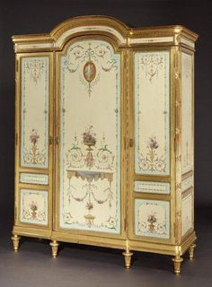 This is a gorgeous,antique French armoire.It is so elegant & is gilded on accent wood.