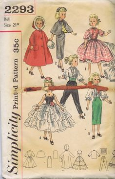 2293 Simplicity pattern for vintage dolls--1950s, as I had this pattern.