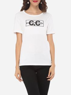 Letter Printed Exquisite Round Neck Short-sleeve-t-shirts