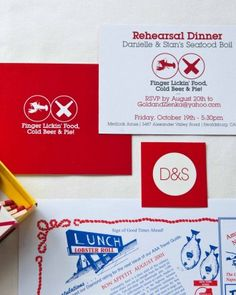The rehearsal dinner invitation for the nautical-themed celebration queued up the lobster boil to come.