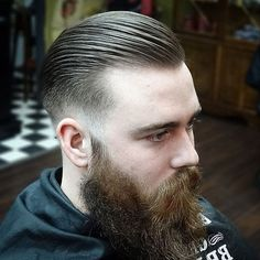 Slicked Back Fade with Beard