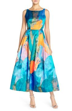 Milly Floral Print Open Back Gown available at #Nordstrom