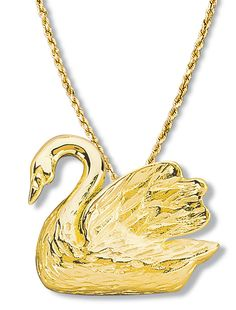 Swan Pendant Large - Available in 14k & 18k