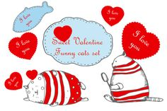Valentine's day set with funny cats by skvorka on Creative Market