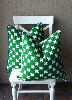 Shop for pillows on Etsy, the place to express your creativity through the buying and selling of handmade and vintage goods. Criss Cross, Twins, Study, Decor Ideas, Throw Pillows, Bedroom, Creative, Green, Handmade