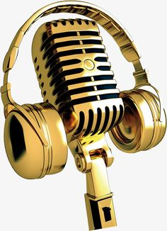 Golden microphone PNG and Clipart