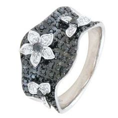 0.51 Carat Black Diamond 14K White Gold Women Rings 4.71g: Ring Size: 7 (Sizable)
