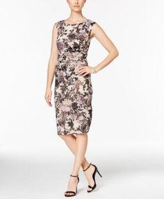 Adrianna Papell Floral-Print Ruched Sheath Dress | macys.com