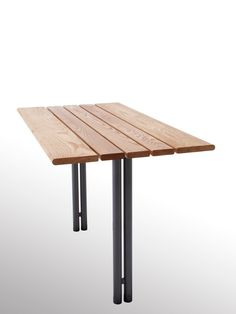 Steel and wood Table for public areas Budget Collection by Nola Industrier | design Erik Österlund