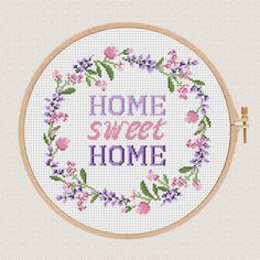 Home sweet home cross stitch pattern Lavender Helleborus