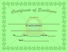 Certificate Of Excellence  Thedesignwall    Template