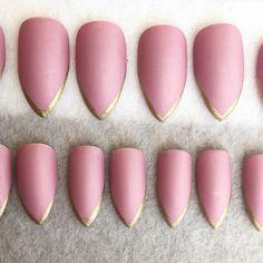 Deep Pink Matte Faux Nails * Gold Tips * Stiletto Nails * Fake Nails * Press On Nails * Pink Nails