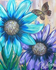 Beautiful blue and purple flower painting with butterfly. RezClick - Whimsy Paint and Sip.