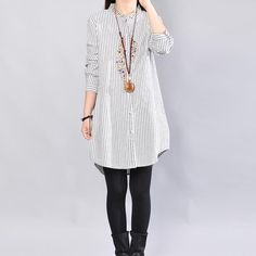 Embroidered Stand Collar Women Dark Gray Shirt Mom Of Boys Shirt, Plus Size Pants, Gray Shirt, Loose Sweater, Cotton Tee, Striped Dress, Cool Shirts, Tunic Tops, Glamour