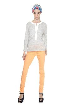 Marc by Marc Jacobs Slubbed Linen Jersey Top and Apricot Gaia Super Skinny jeans