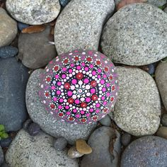 Valentine's Day Mandala Dotty Rock with Bonus by InnerSasa on Etsy