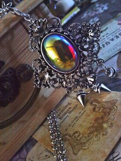 Holographic Rainbow Cabochon Brooch and Necklace