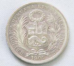 Moeda de prata Peruana de 1/2 Sol de 1907.