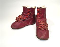 1870 pair of Child's Shoes. Leather with velvet ribbon. Valley College, The Scarlet Letter, Body Adornment, Velvet Ribbon, Shades Of Red, Vintage Children, Little Babies, Baby Dolls, Combat Boots