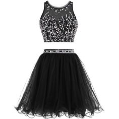 Tideclothes Short Beading Prom Dress Two Pieces Tulle Homecoming Dress ($75) ❤ liked on Polyvore featuring dresses, beaded prom dresses, short dresses, short tulle dress, prom dresses and 2 piece cocktail dress