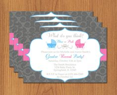 Printable Gender Reveal Invitation - Editable Template - Microsoft ...
