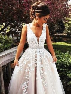A Line Wedding Dresses, Princess Prom Dresses, Lace Prom Gown