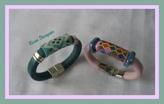 Regaliz Bead Loom Bracelets, Leather Bracelets, Leather Jewelry, Peyote Stitch Tutorial, Seed Bead Projects, Brick Stitch, Loom Beading, Bracelet Patterns, Bead Weaving