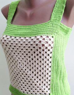 Granny square crochet top/ Cropped top/ Crochet vest/ Crochet Sexy Top/ Bohemia/ Crochet Crop top/ Festival hippie crochet top/ Gypsy chic