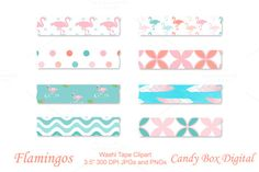 Flamingo Digital Washi Tape by Candy Box Digital on Creative Market. Fun aqua, pink and coral flamingos play across these digital washi tape. Just the thing to set off your favorite photos on your blog or in your digital scrapbook.