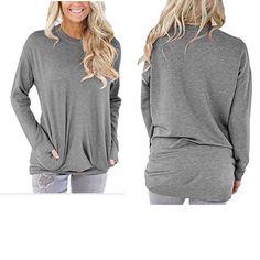 Womens Winter Casual Tunic Top Sweatshirt Crew Neck Loose Long Sleeve Grey Large #Camisunny #CasualLooseLongSleeveLooseFeelsLikeTShirtsBlouseCotton #Casual