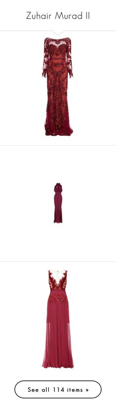 """""""Zuhair Murad II"""" by sakuragirl ❤ liked on Polyvore featuring dresses, gowns, long dresses, vestidos, long sleeve dress, red ball gown, long red skirt, red dress, red gown and red"""