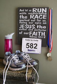 Race Bib and Medal Holder x Hebrews Race Bib Display Buy 3 get 1 Free!-- good idea for hook on the side for medals. Race Bib Display, Race Medal Displays, Award Display, Running Quotes, Running Motivation, Triathlon Motivation, Fitness Motivation, Running Workouts, Running Tips