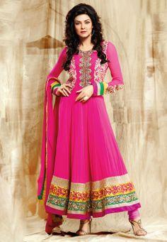 Pink Faux Georgette Anarkali Churidar Kameez @ $155.30