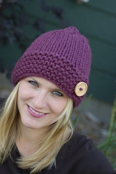 Knit Womens Adult Plum Chunky Hat with Button Beanie Fall Fashion Autumn Fashion Back to School