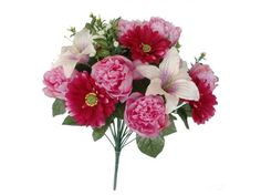 Bouquet combinado de Peonias, Lilium y Gerbera, de flor artificial, en tallos con hojas verdes y relleno silvestre. De 48 cms de altura. Disponible en colores crema, malva y fucsia.