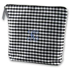 Silk Gingham Embroidered Initial Lingerie Bag